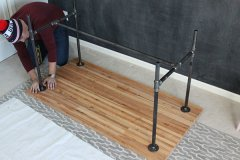 Straightening the pipe legs of a DIY work table