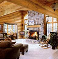 The interior of a Golden Eagle Log Home.